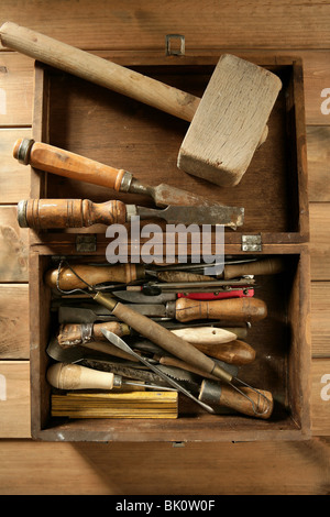 asrtist hand tools for handcraft works on golden wood background - Stock Photo