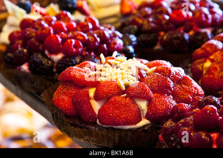 Desserts on display at bakery in Christianshavn - Stock Photo
