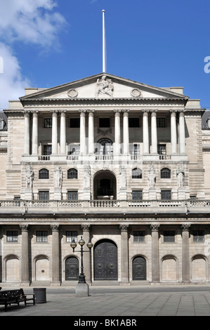 City of London Bank of England doors shut with quiet streets on a Sunday Threadneedle Street City of London England - Stock Photo