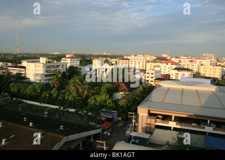 View over Rangsit in Prathumthani near Bangkok, Thailand. - Stock Photo