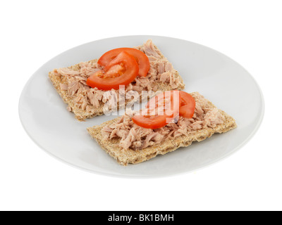 Crispbread with Tuna - Stock Photo