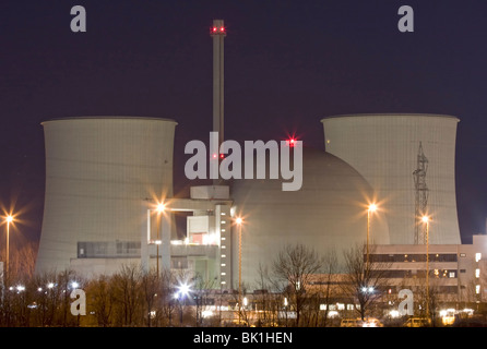 Nuclear power station at night - Stock Photo