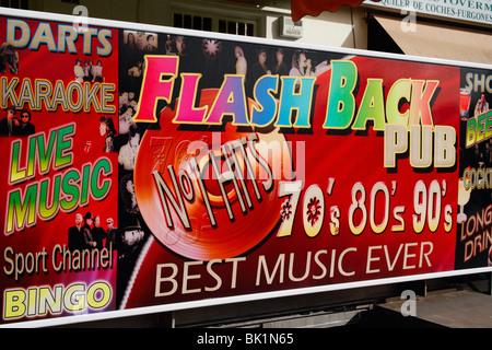 Pub sign in Playa del Ingles on Gran Canaria - Stock Photo