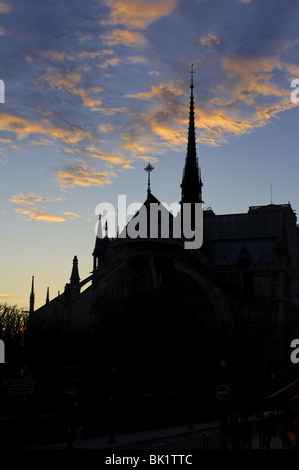 Sunset above the Notre Dame de Paris cathedral, black silhouette on a dusk sky - Stock Photo
