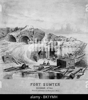 Fort Sumter, December 9th 1863, View of entrance to Three Gun Battery - Stock Photo