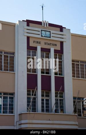 Art deco facade of Fire Station in Gibraltar - Stock Photo