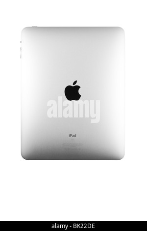 Product photo of the back panel of the Apple iPad with Apple logo and product information in view. - Stock Photo