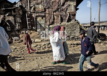 Village near Simien National Park, Ethiopia - Stock Photo