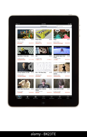 An iPad tablet computer with the YouTube application displayed - Stock Photo