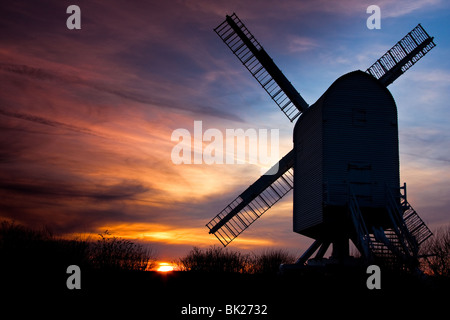 Twilight image of Chillenden windmill Chillenden Kent England which is silhouetted against the evening sky - Stock Photo