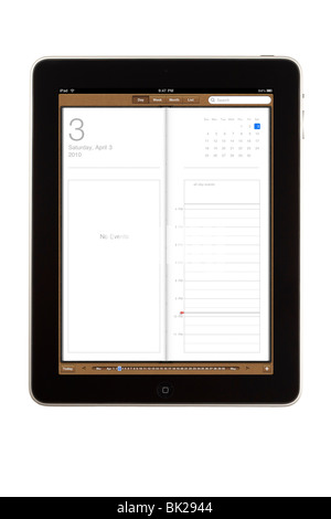 An iPad tablet computer and its calendar screen in single day mode - Stock Photo
