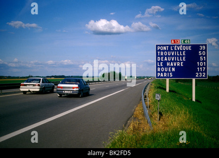 sign distance in kilometers autoroute a13 near city of caen lower stock photo royalty free. Black Bedroom Furniture Sets. Home Design Ideas