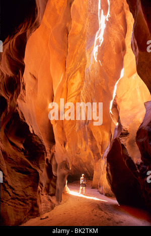 Hiker in the Navajo Sandstone narrows of Buckskin Gulch in the Paria Canyons - Vermilion Cliffs Wilderness Area, - Stock Photo