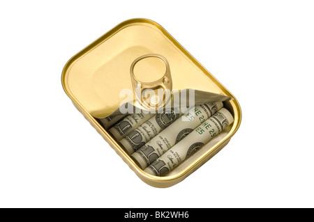 tin with money inside - Stock Photo