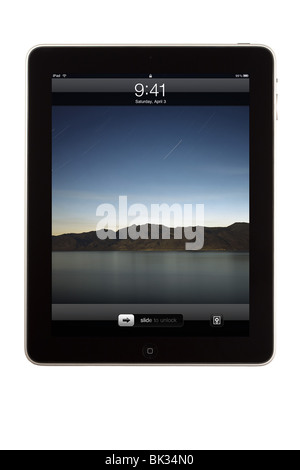 An iPad tablet computer in locked screen mode - Stock Photo
