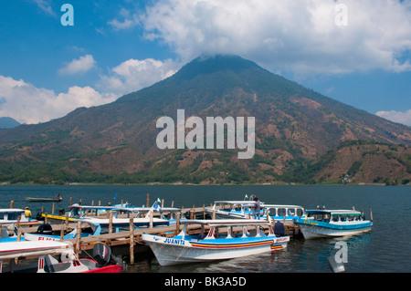 Volcan San Pedro, Santiago Atitlan, Lake Atitlan, Guatemala, Central America - Stock Photo