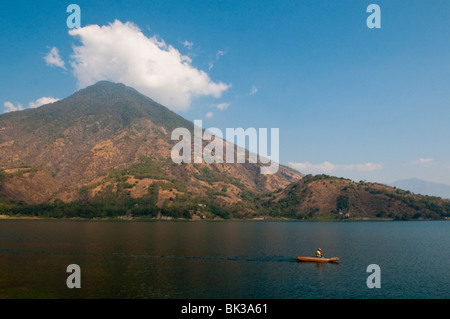Volcan San Pedro, Lake Atitlan, Guatemala, Central America - Stock Photo