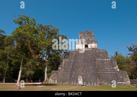 Temple II, Mayan archaeological site, Tikal, UNESCO World Heritage Site, Guatemala, Central America - Stock Photo