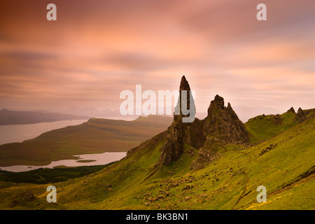 Old Man of Storr at dawn with Cuillin Hills in distance, near Portree, Isle of Skye, Highland, Scotland, United - Stock Photo