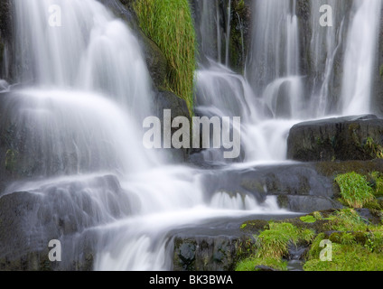 Waterfall below Old Man of Storr, near Portree, Isle of Skye, Highland, Scotland, United Kingdom, Europe - Stock Photo