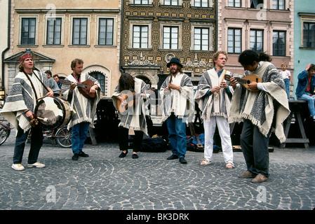 Peruvian Street Musicians in Warsaw, Poland - Stock Photo