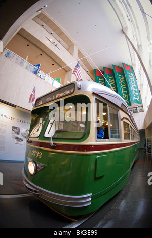 Vintage trolley on display at the SEPTA offices on Market Street in the Center City of Philadelphia, PA - Stock Photo