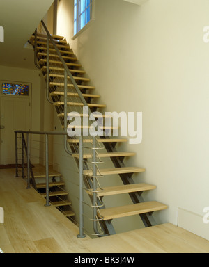 Modern Metal Staircase With Open Wooden Treads On Landing With Wooden  Flooring   Stock Photo Part 60
