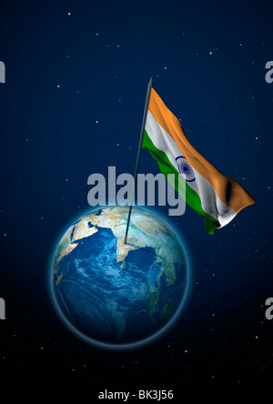 National flag of India in the globe - Stock Photo