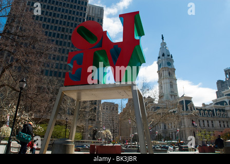 One of the versions of Robert Indiana's 'Love' sculpture in Love Park (JFK PLaza) in Center City Philadelphia, PA - Stock Photo