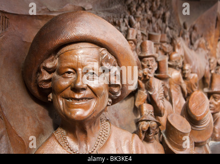 Queen mother bronze plaque on 'The Mall' in London, England. - Stock Photo