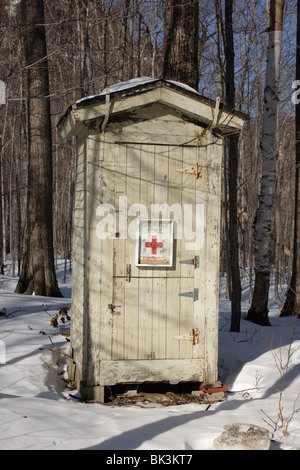 First Aid Cache in Crawford Notch State Park during the winter months in the White Mountains, New Hampshire USA - Stock Photo