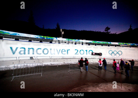 Action from Whistler Sliding Centre of the men's two man bobsleigh heats for Vancouver 2010 - Stock Photo