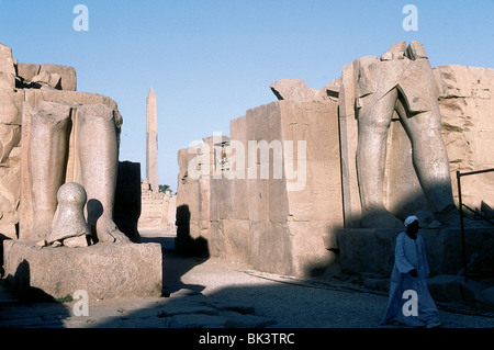 Ruins and obelisk at the Great Temple of Amun at Karnak in ancient Thebes, Egypt - Stock Photo