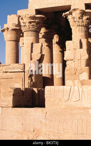 Temple of Sobek & Haroeris (dedicated to crocodile god Sobek & Horus) is an unusual double temple built during rule - Stock Photo