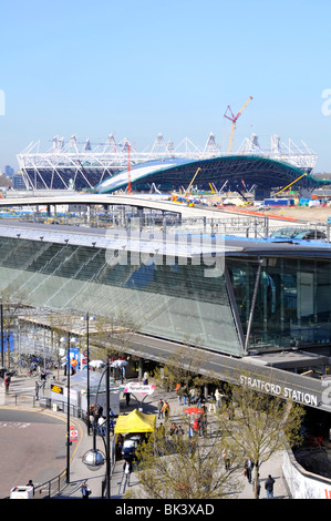 Birds eye view from above looking down Stratford London railway train station 2012 Olympic building site Aquatic - Stock Photo