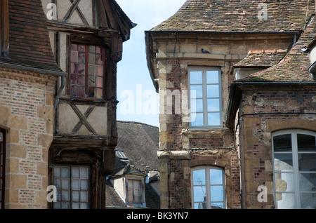 Half timbered house in Moulins. Allier. Auvergne. France. - Stock Photo