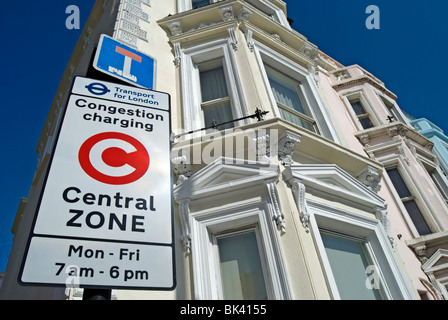 central zone congestion charging sign beside victorian houses in chelsea, london, england - Stock Photo