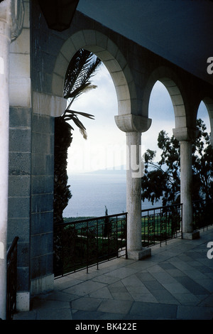 Archway of the Church of the Beatitudes overlooking Lake Tiberias (Sea of Galilee), Israel - Stock Photo