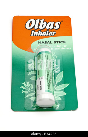 packeted Olbas inhaler nasal stick - Stock Photo