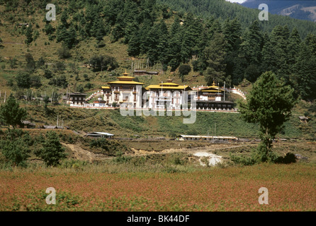 Kurjey Lhakang Temple complex also known as the Kurjey Monastery, is located in the Bumthang valley in the Bumthang - Stock Photo