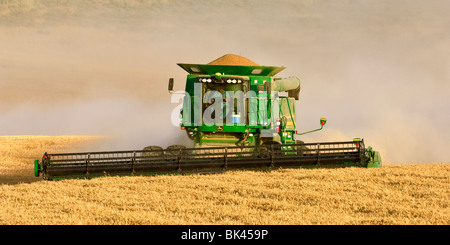 A John Deere combine harvests soft white wheat in central Eastern Washington - Stock Photo