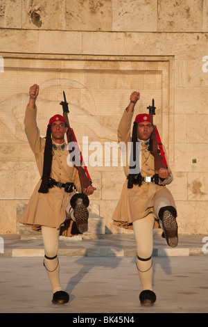 Evzones presidential guard changing position  at Greek Parliament in Athens - Stock Photo