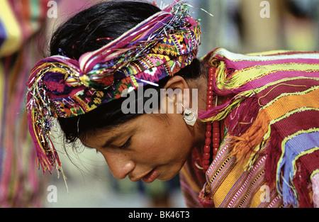 Woman wearing traditional Maya traje in Cantel, Guatemala - Stock Photo
