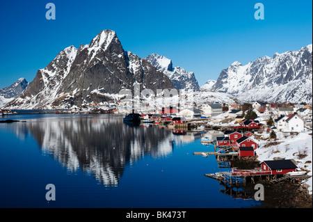 Lofoten Islands; View of village of Reine in Moskenes in in Norway in winter 2010 - Stock Photo