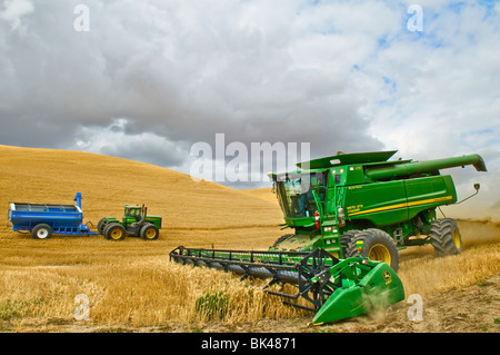 A John Deere combine harvests soft white wheat in the Palouse region of Eastern Washington with a grain cart in - Stock Photo
