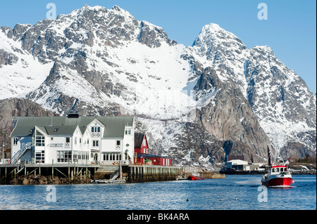 harbour at Henningsvaer on Lofoten Islands in Norway - Stock Photo