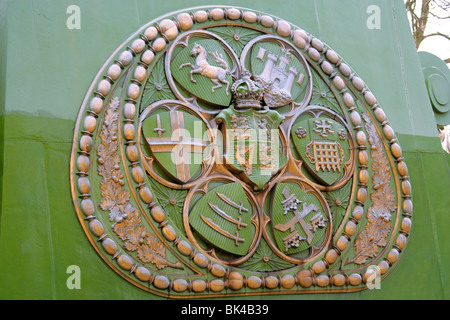 Detail of Emblem on Hammersmith Suspension Bridge on the River Thames - Stock Photo