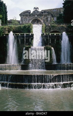 Water Fountain at Villa d'Este, Tivoli, Italy - Stock Photo