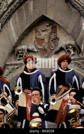 Brass band for the horserace, the Palio in Siena, Italy - Stock Photo