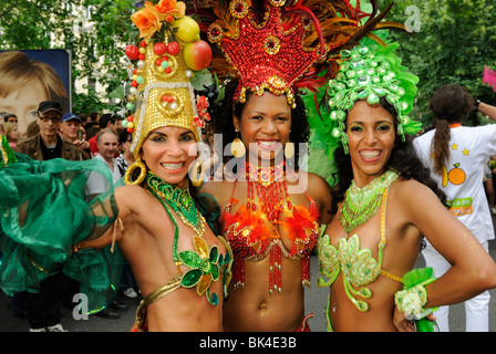 Three Brazilian Samba dancers at Karneval der Kulturen, Carnival of Cultures, Kreuzberg district, Berlin, Germany, - Stock Photo